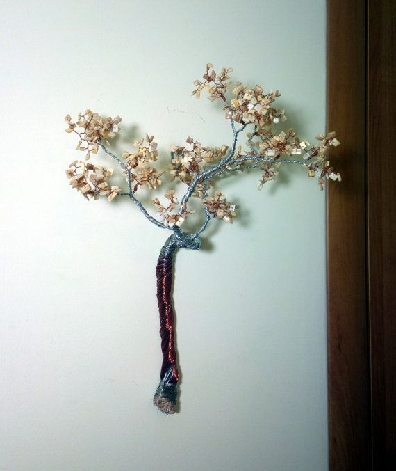 Wall decor / wire tree on the wall / copper wire art / wall statue ...