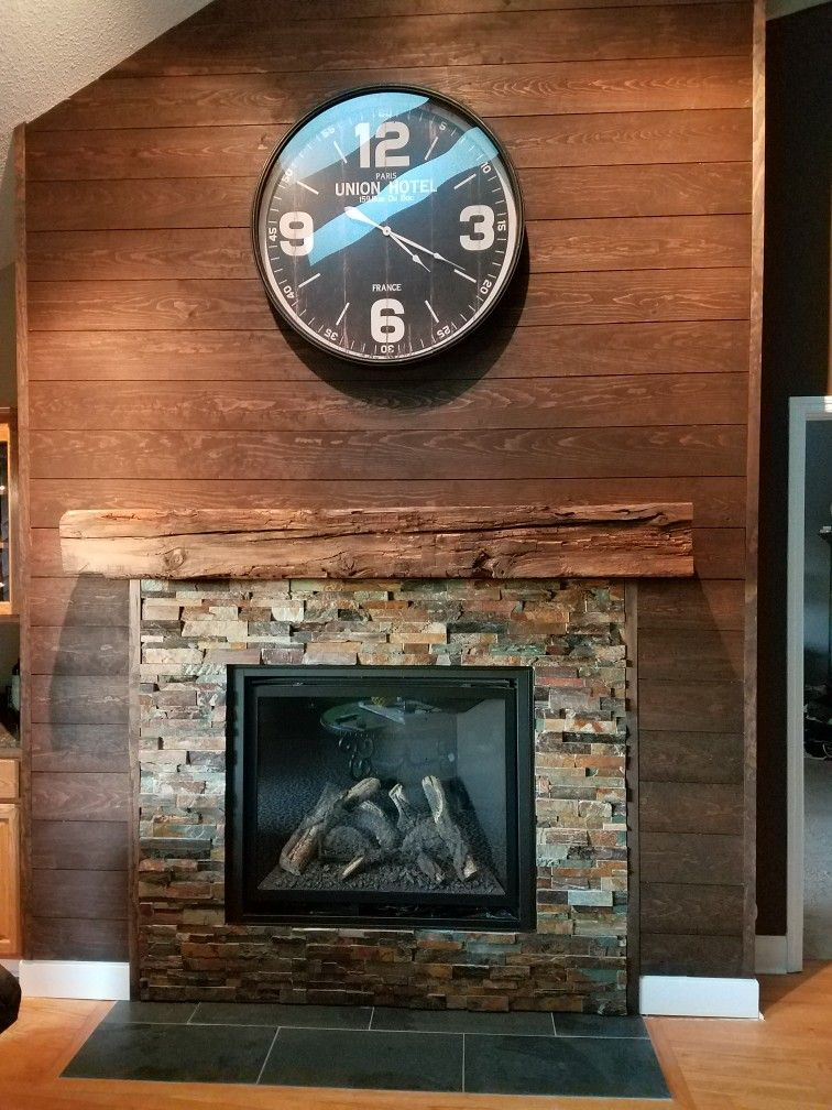 Stained Shiplap Nickel Gap Fireplace Surround Shiplap