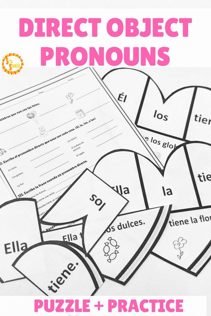 Direct Object Pronouns Spanish Valentine U0026 39 S Puzzle And