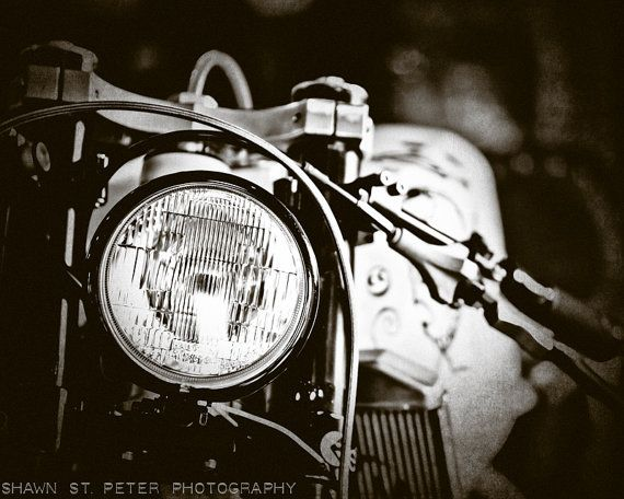 Set of 3 vintage motorcycle parts closeup black and white fine art photo prints mod