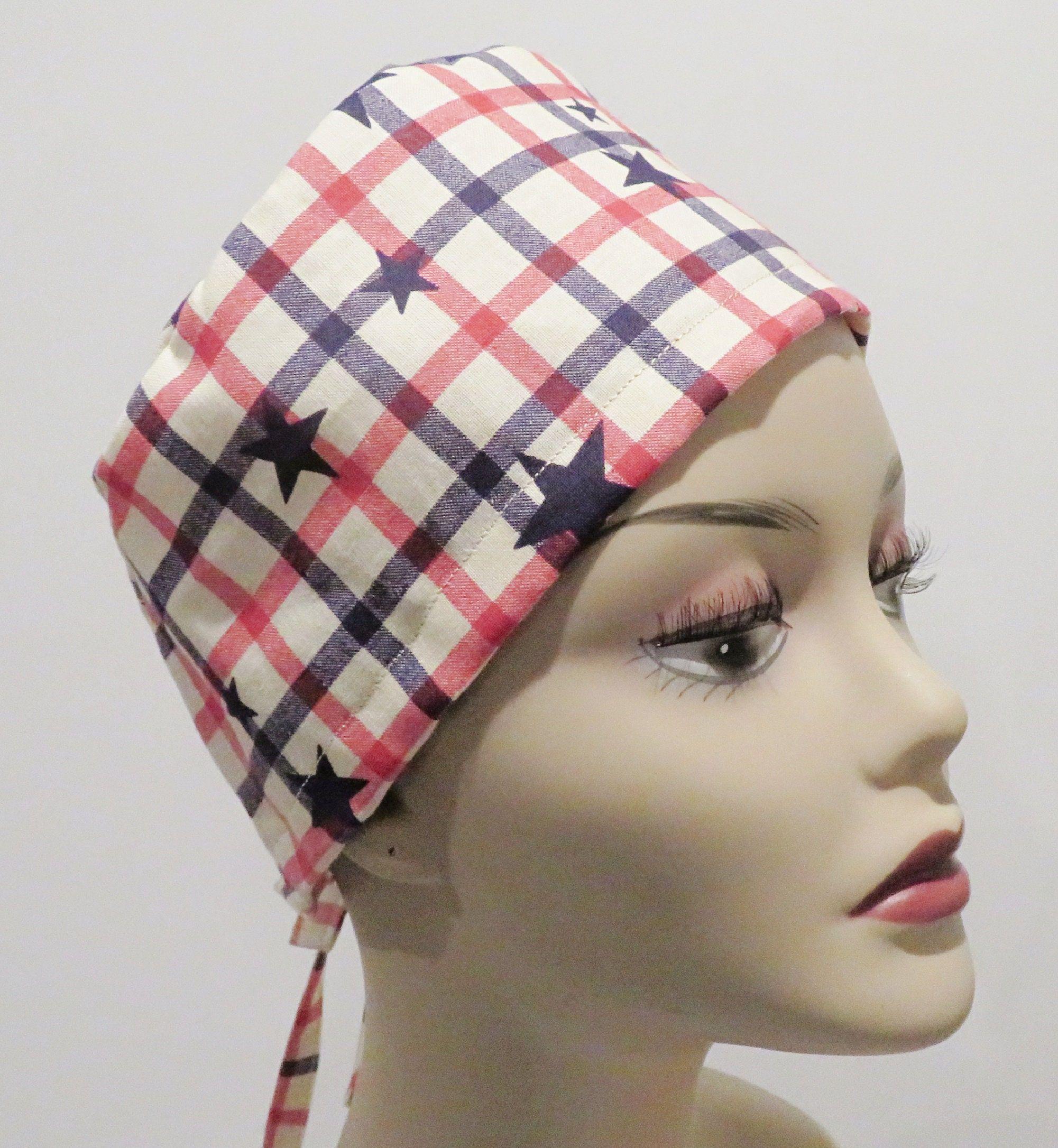 STARS fabric scrub hats, Tie back scrub hats, men scrub hats, Patriotic scrub hats, Stars scrub hats, Unisex scrub hats, Plaid scrub hat
