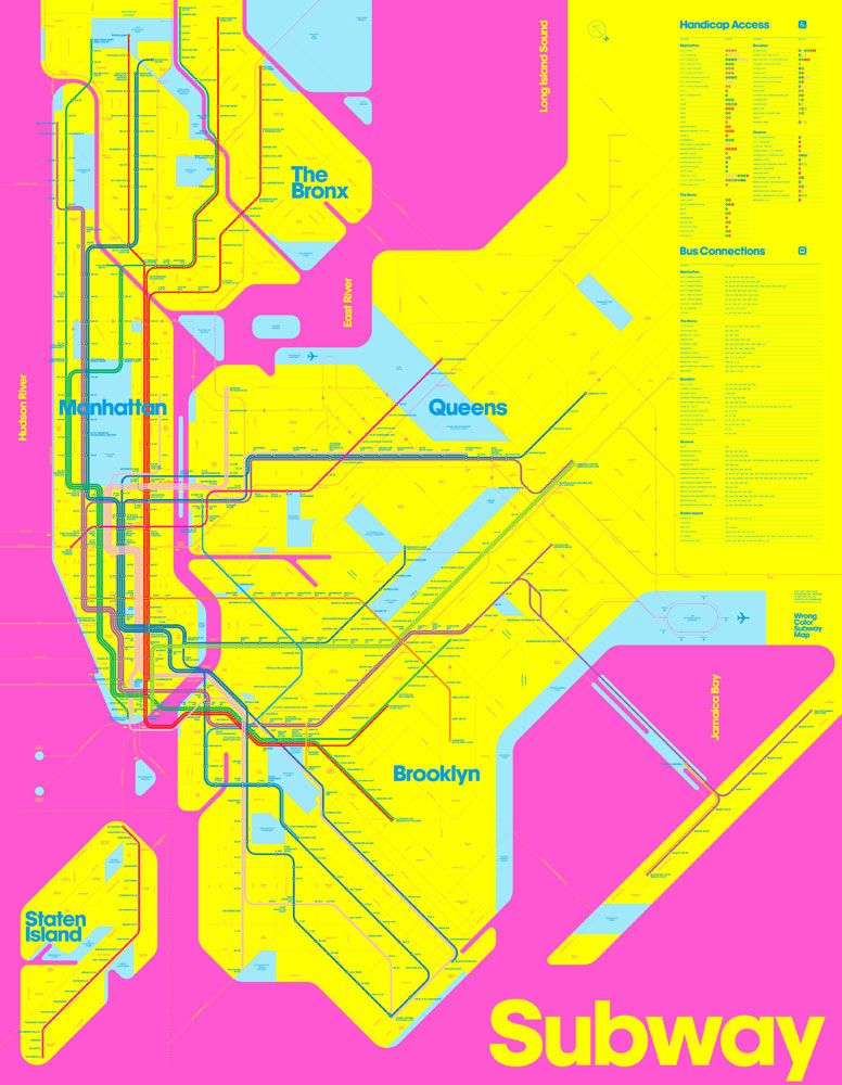 Nyc Subway Map Colorful.Triboro S Take On The New York Subway Using Only The Most