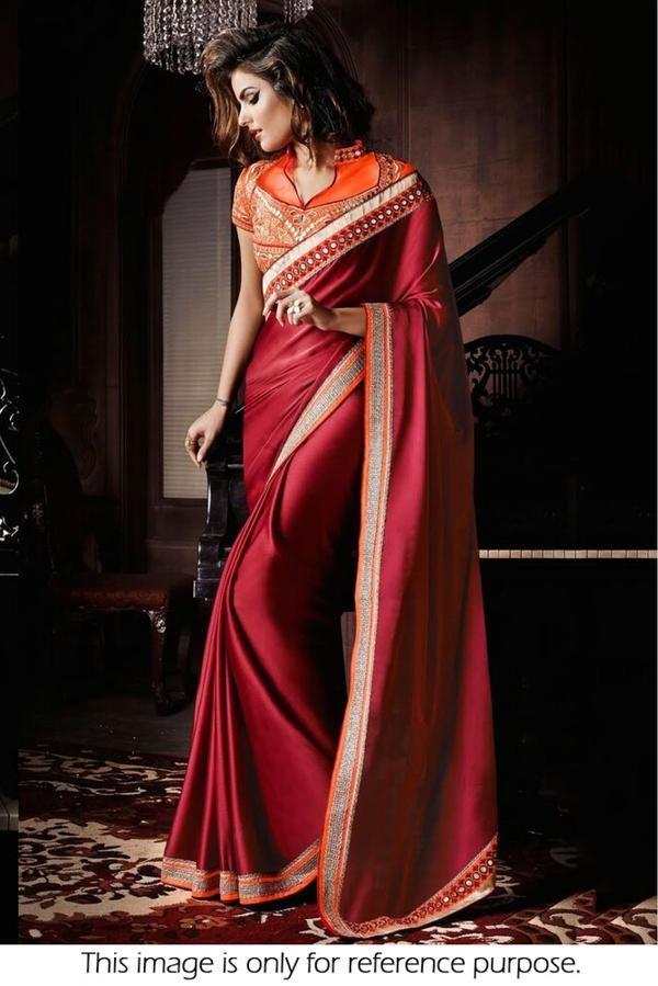 c79a6db6014390 Bollywood Style Model Silk Georgette Saree In Maroon Colour Maroon Colour  Silk Georgette Fabric Designer Bollywood Saree -www.cooliyo.com