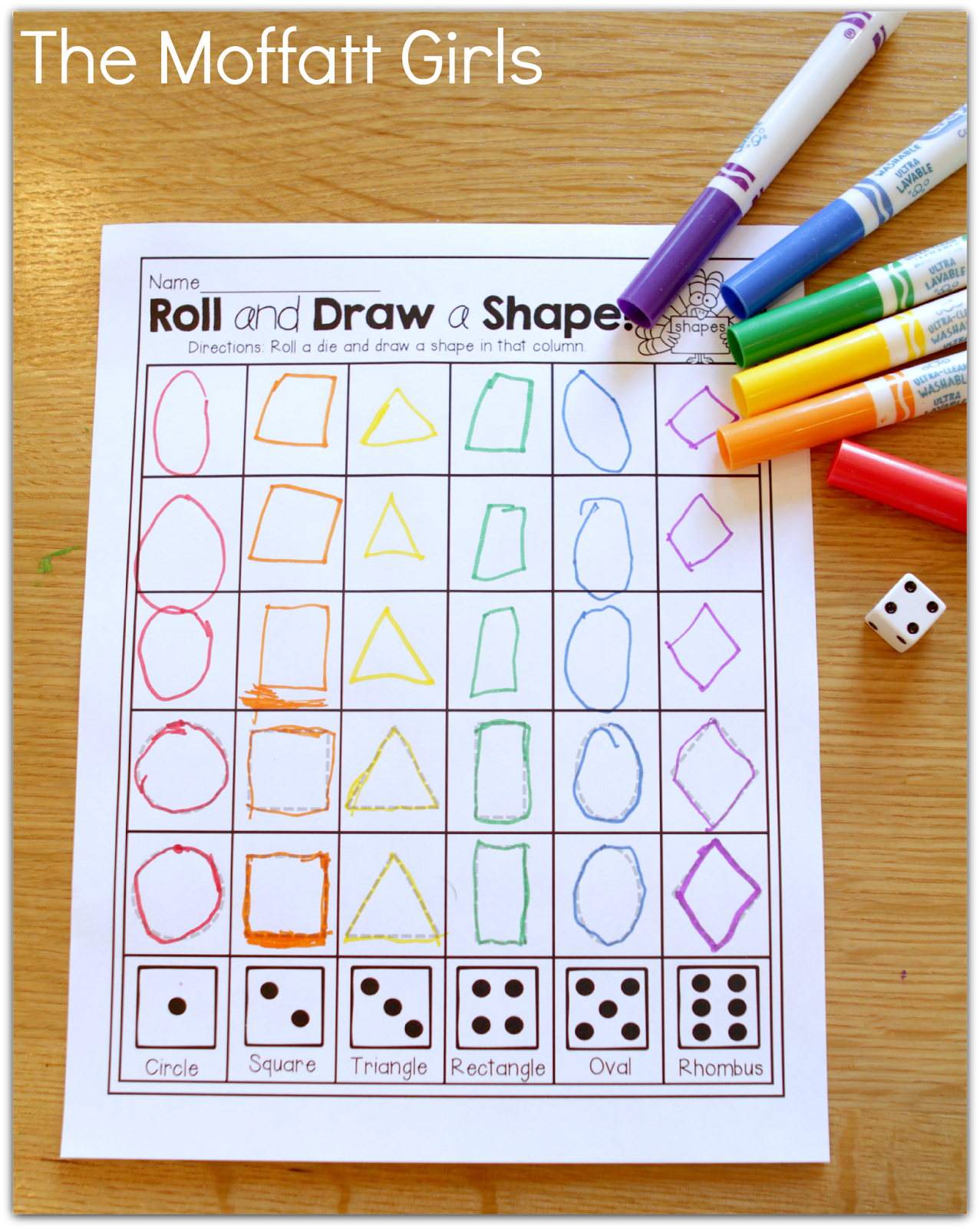 Roll a die and trace/draw a shape! TONS of great ideas!