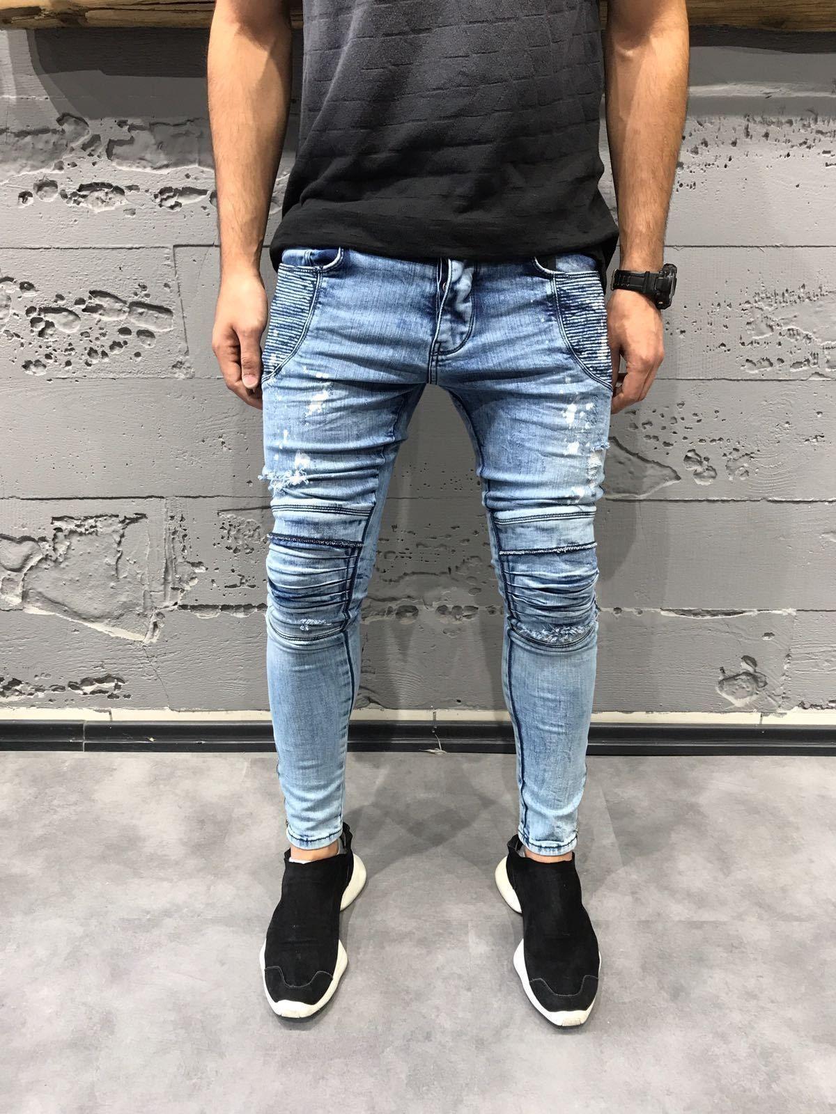 Mens Jeans Slim Skinny Pants Knee Rips Wash Blue Denim Express Shipping 3375 Mens Jeans Slim Mens Jeans Ripped Jeans Men