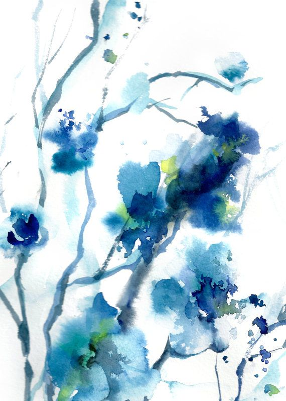 blue blossoms  watercolor painting art print  abstract