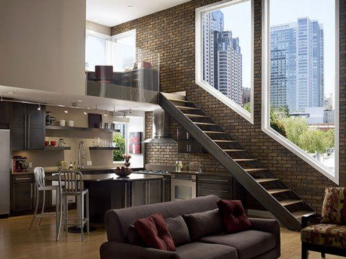 Open kitchen and stairs with a view!