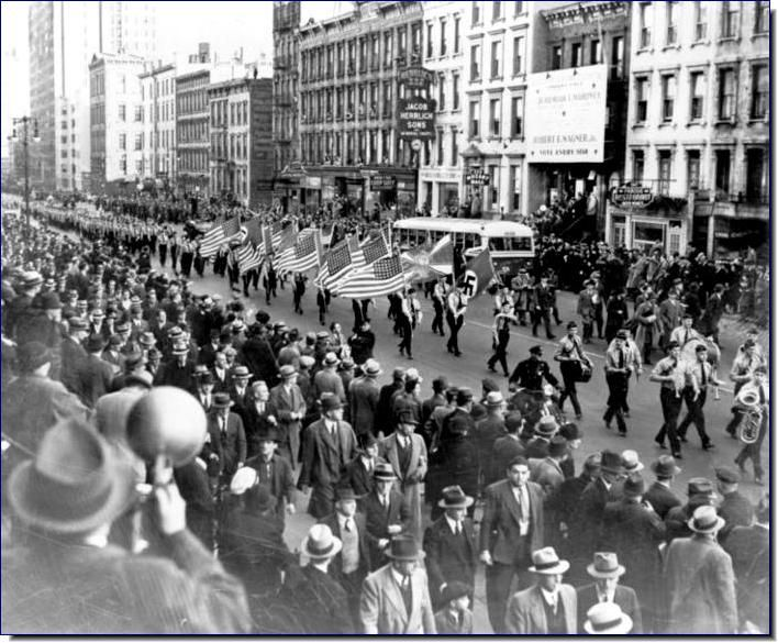 Bund parade in New York in 1937 was held under police guard. However, except for American Jews, no one protested against the march of the Nazis in the main U.S. city.