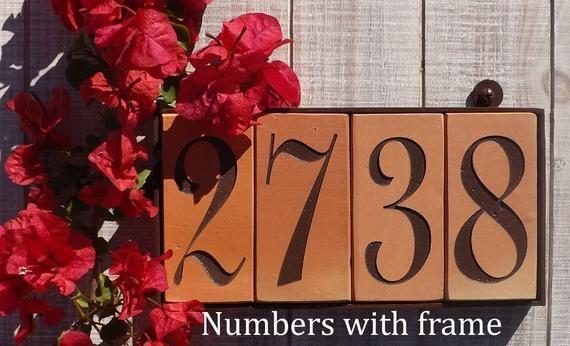 Terracotta House Tile Numbers Framed Spanish Numbers Etsy Mediterranean House Numbers House Numbers Tile House Numbers