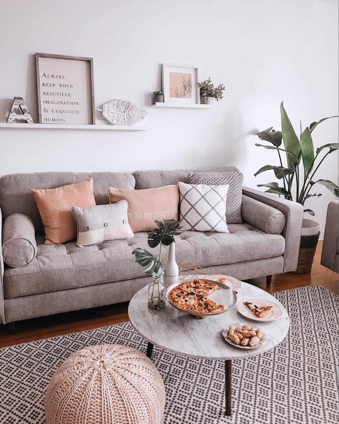 Pizza Inspo Pizza At Home Modern Living Room Modern Boho Living Room Gray Couch Patterned Modern Boho Living Room Grey Couch Living Room Boho Living Room