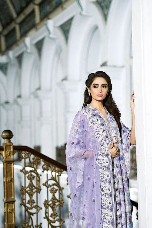 6df2a96276 Gul Ahmed 3 Piece Stitched Premium Embroidered Chiffon PM-167 - Lilac -  libasco.