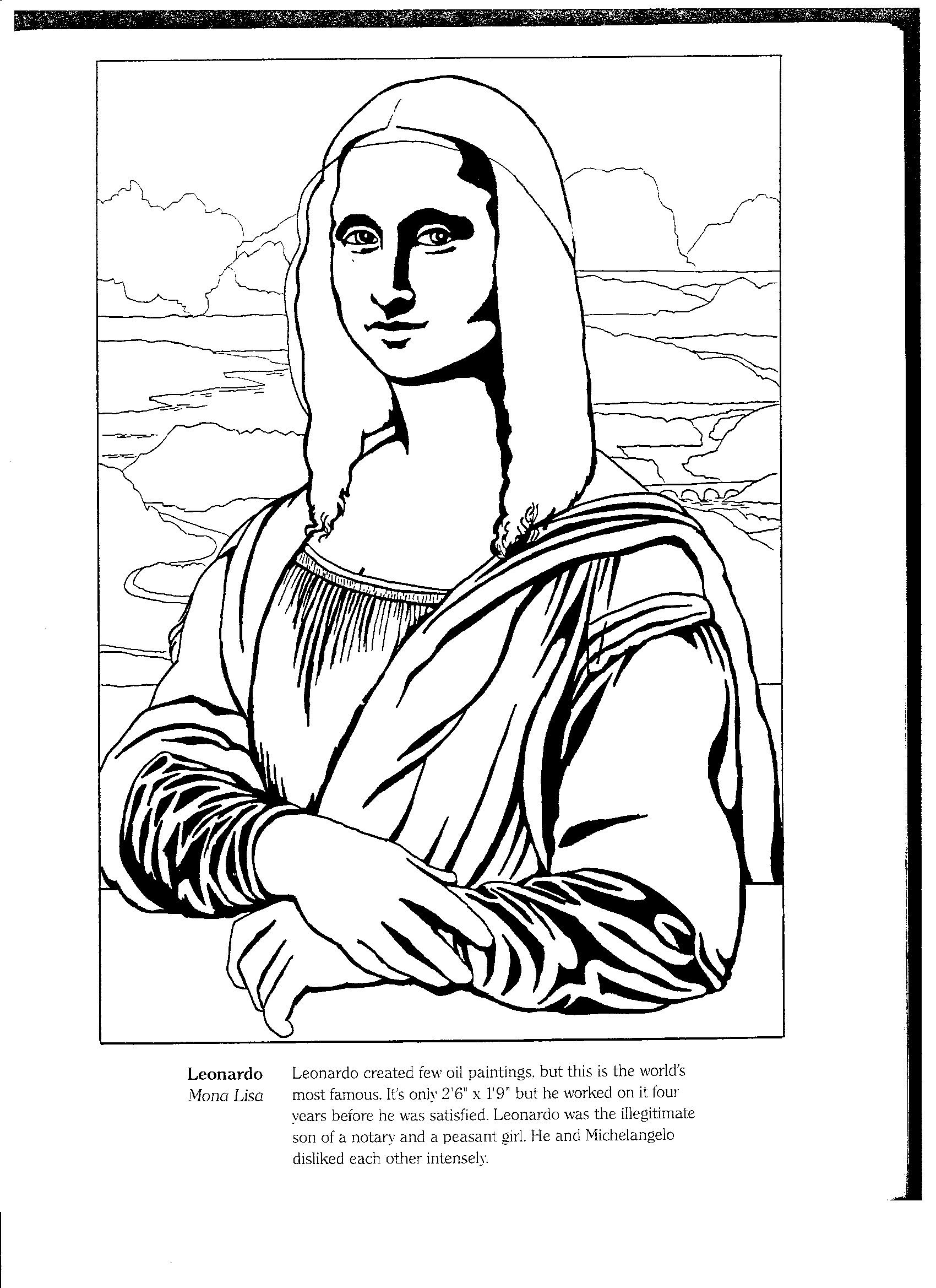 Unbelievable Mona Lisa Coloring   Angel coloring pages ...