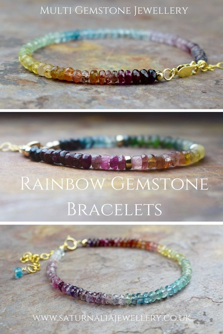 Browse our range of ombre rainbow bracelets, now available on the website.  The stones we use to create the rainbow effect are Tourmaline, Spinel, Aquamarine & Sapphires, as they all have wonderful arrays of colour.  The 7 colours of the rainbow were first distinguished by Sir Isaac Newton in 1666!  boho bracelet, gemstone jewellery, gemstone bracelet, handmade jewellery  #rainbow #ombre #gemstone #jewelry #jewellery #bracelet #bohemian #giftforher #fashion