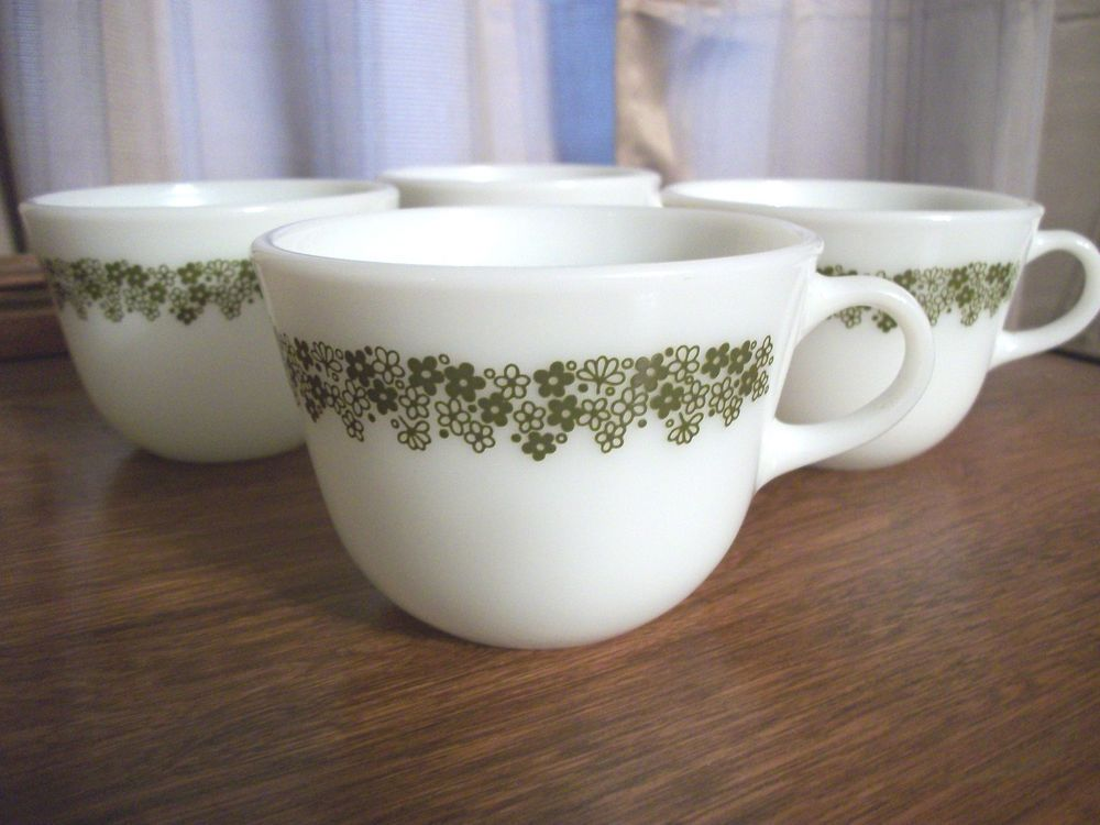 4 Pyrex Corning Crazy Daisy Green Coffee Mugs Cups Set of 4 #Pyrex ...