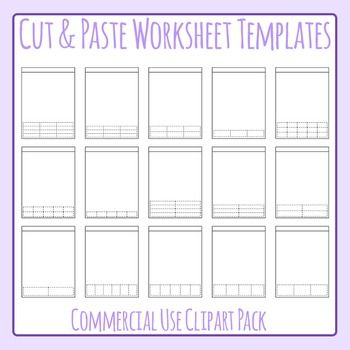 Cut and Paste Style Worksheet Templates / Layouts Clip Art for ...