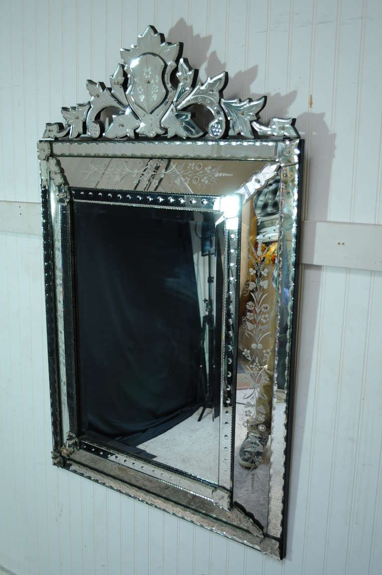 Vintage 20th Century French Venetian Style Etched Glass Wall Mirror ...