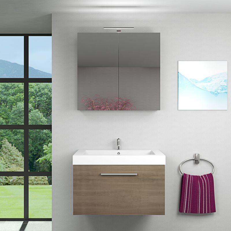 Badmobel Set City 100 V1 Braun Eiche Badezimmermobel Waschtisch 80cm 14107 Ohne Spiegelschrankbeleuchtung Trendbad24 Gmbh Co Kg In 2020 Badezimmer 80er Waschtisch Badezimmer