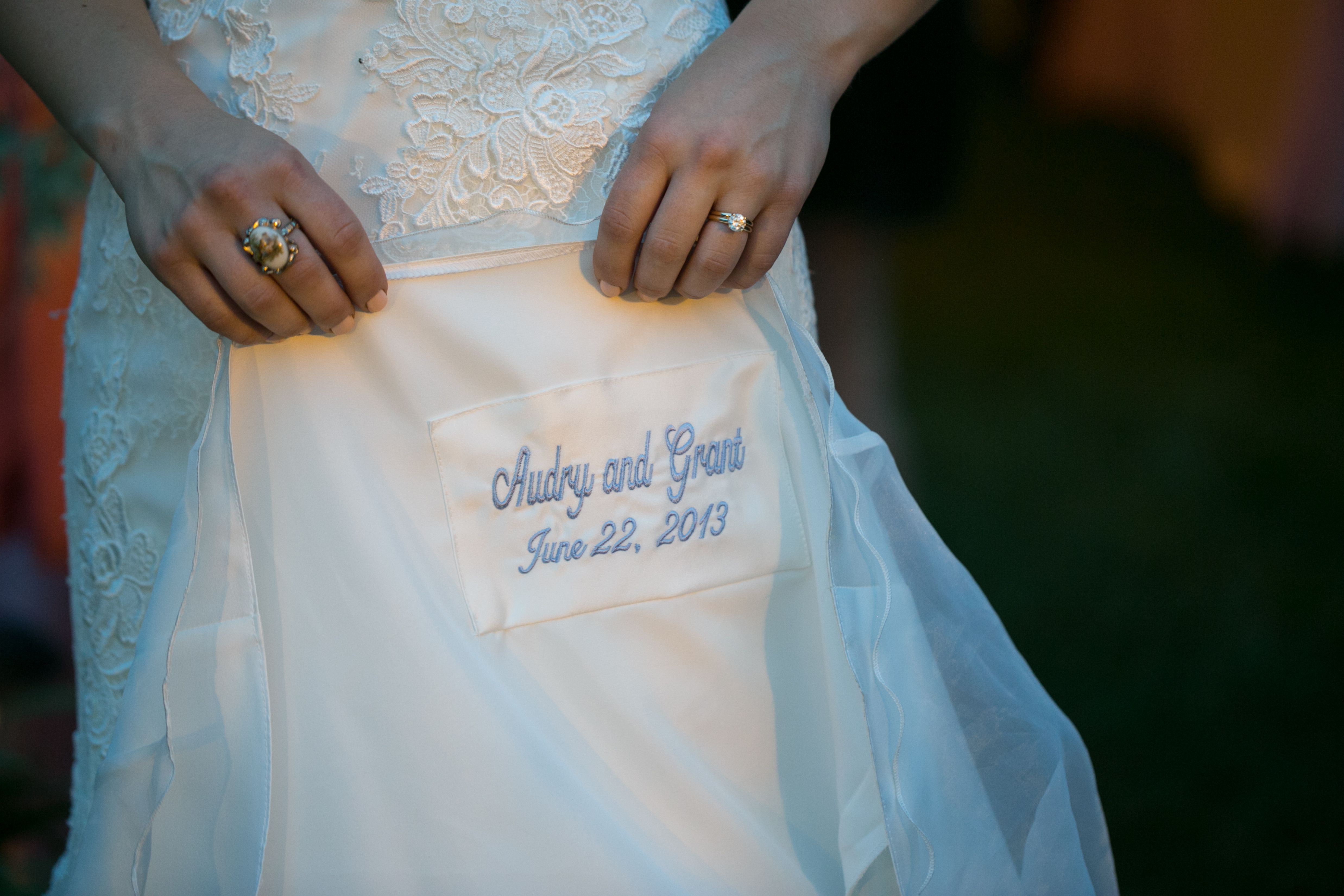 Embroidery under wedding dress, wedding date, something blue | Our ...