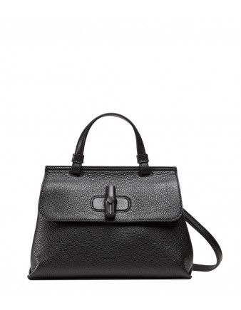 ae166429cc7 Gucci Black Bamboo Lock Bag