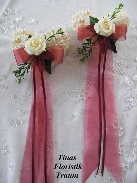 *Traumhafte Tischdekoration in  Bordeauxrot - Creme*     Ideal für Ihre Hochzeit, Geburtstag, Taufe, Kommunion, Konfirmation.  Aber auch für andere...