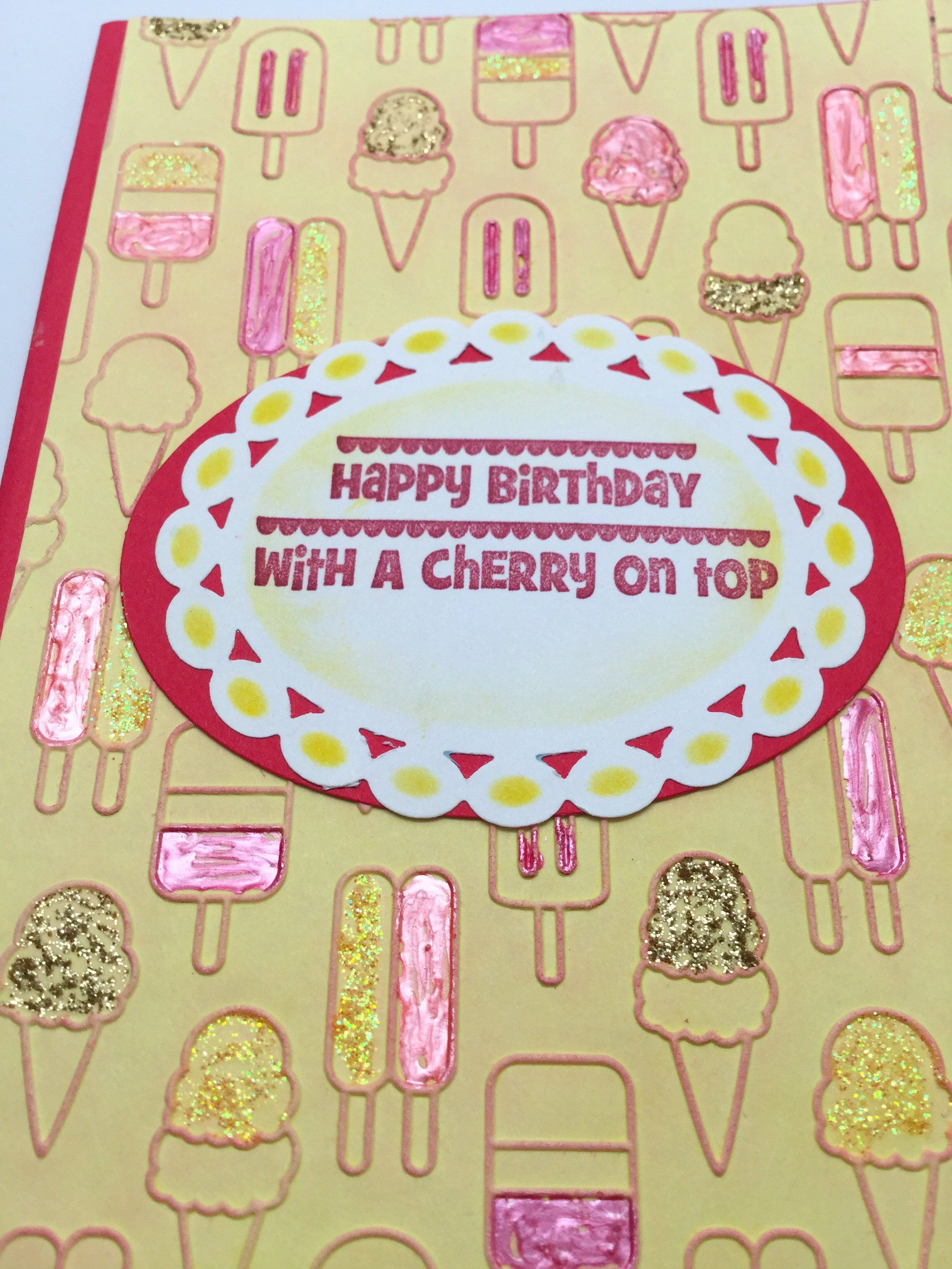 Handmade greeting cards ice cream cones cherry on top large