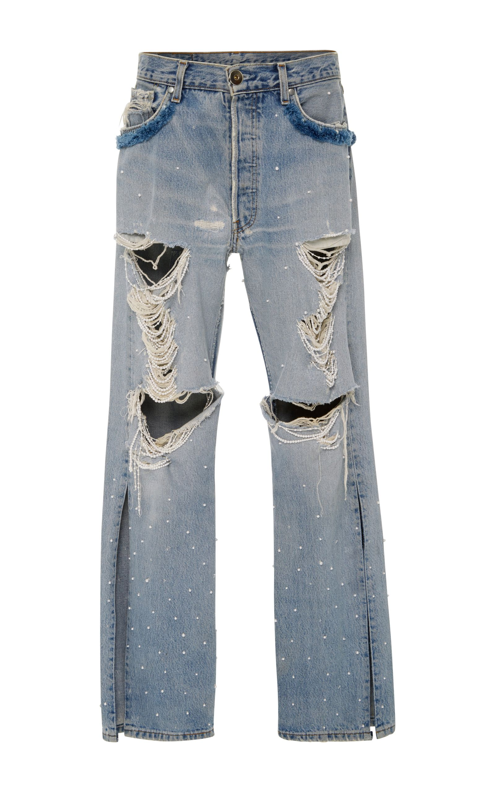 6acdd110c04 Embellished Distressed Jeans by JONATHAN SIMKHAI Now Available on Moda  Operandi