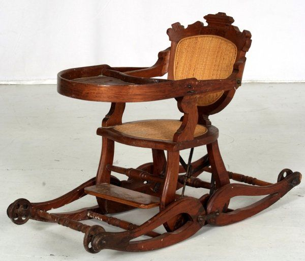 Antique oak child's highchair/rocker circa 1900 - Antique Oak Child's Highchair/rocker Circa 1900 Beautiful