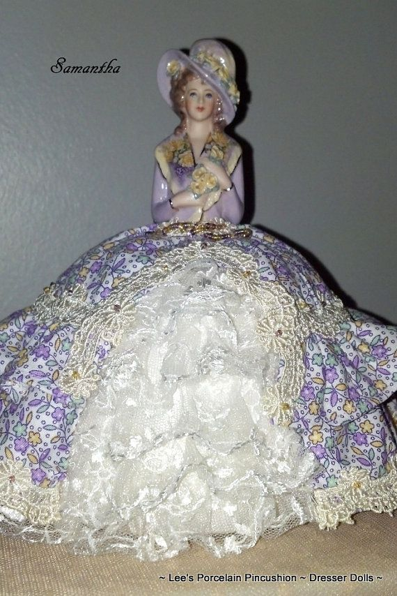 Porcelain Half Doll Pincushion Dresser by leesvintagetreasures, $135.00