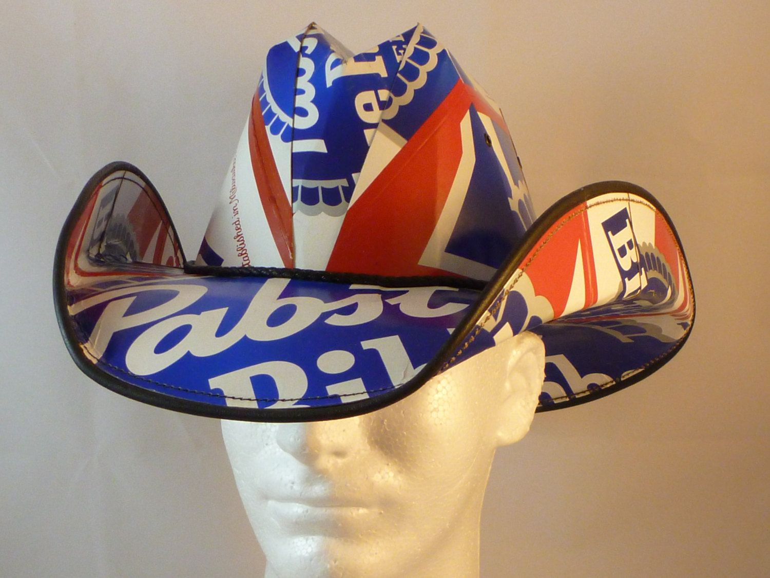 c1c1722d447 Beer Box Cowboy Hats. Made from recycled Pabst Blue Ribbon Beer boxes.  Beerhat..  29.99