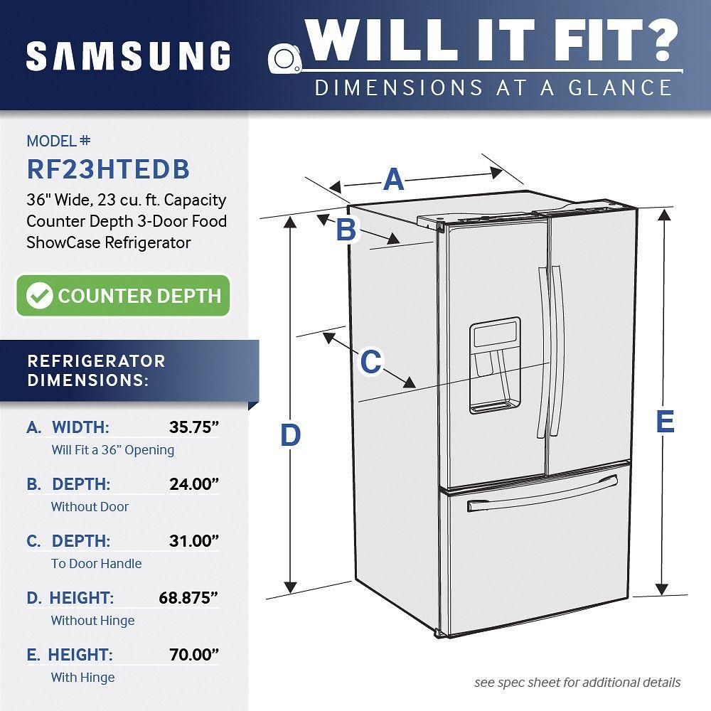 Best Buy Samsung 23 Cu Ft Counter Depth 3 Door Refrigerator With Food Showcase Stainless Steel Rf23htedbsr Counter Depth Refrigerator Counter Depth French Door Refrigerator Counter Depth