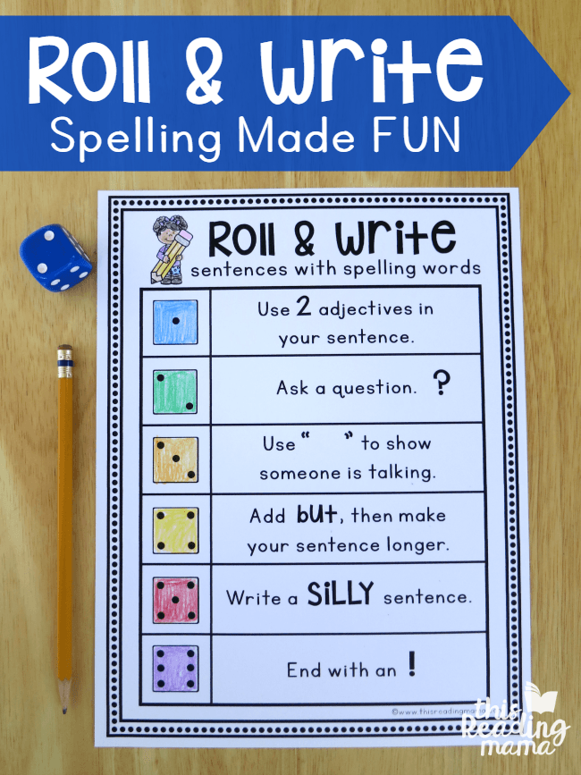 Roll Write Sentences With Spelling Words This Reading Mama Teaching Writing Spelling Words Teaching Spelling