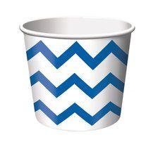 True Blue Chevron Stripe Treat Cups (6 ct)