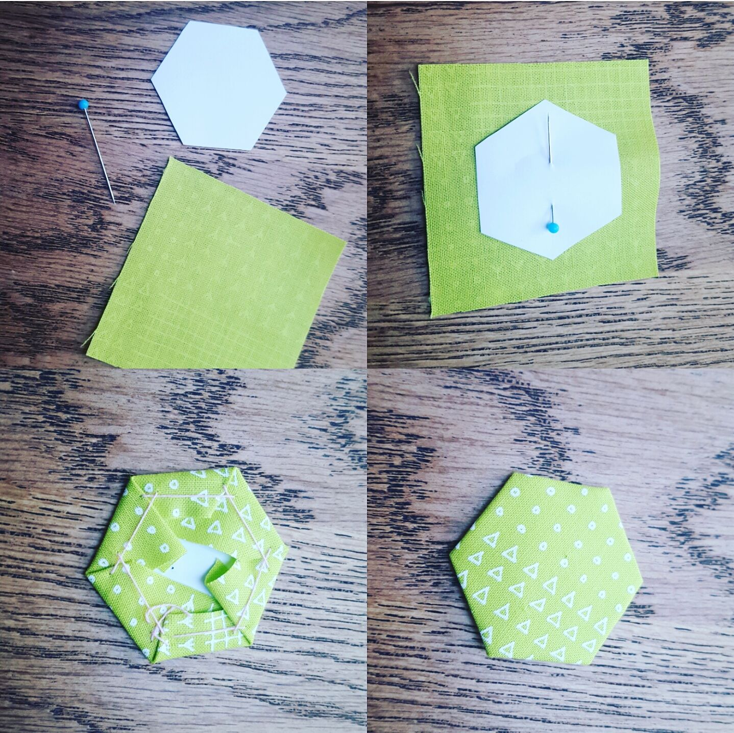 Modernes Hexagon Kissen Technick English Paper Piecing