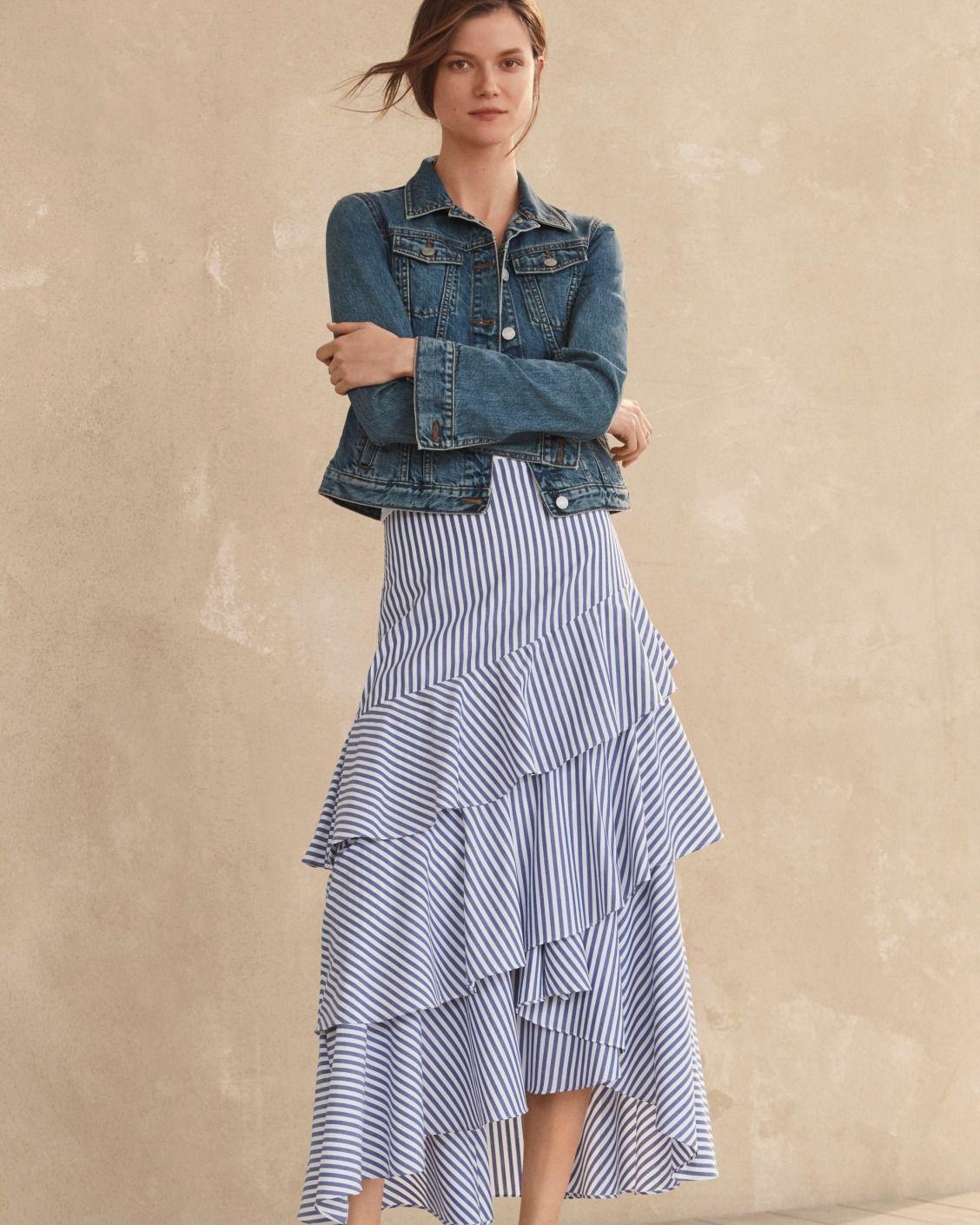 Banana Republic Womens Tiered Ruffle Mini Skirt Size 0 Brown