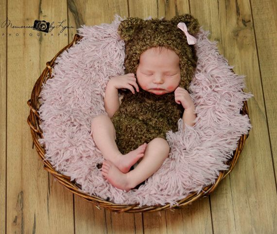 Newborn Photo PropKnitted Teddy Bear Prop by KnittingKnicely