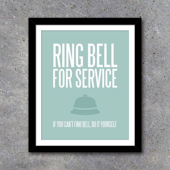 Ring Bell For Service Wall Art – Laundry Room Art ...
