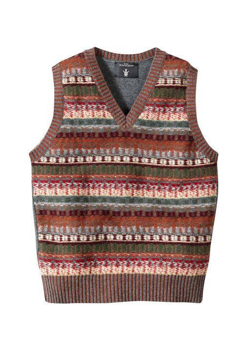 Reverse fairisle scottish knitted lambswool tank top vest Grey ...