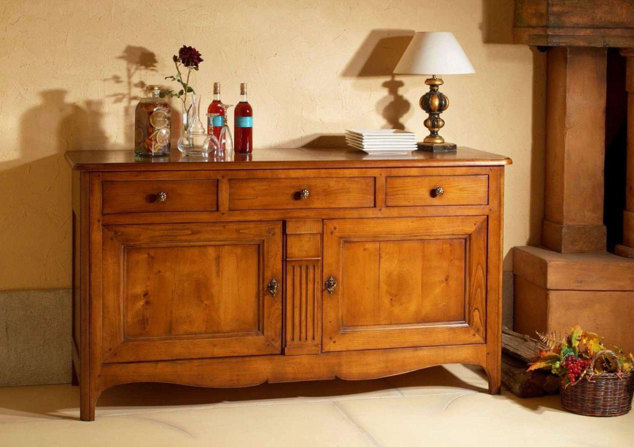 Buffet Deux Portes En Bois Massif De Style Directoire Avec 3 Tiroirs Une Separation Verticale Et 2 Etageres French Furniture Home Decor Furniture