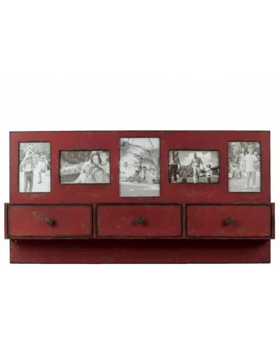 Antique Red Wooden Wall Shelf With Drawers And Picture Frames