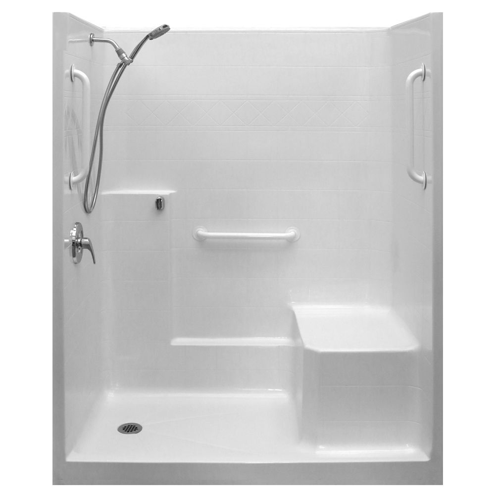 Ella white grab bar valve kit one piece low threshold shower with