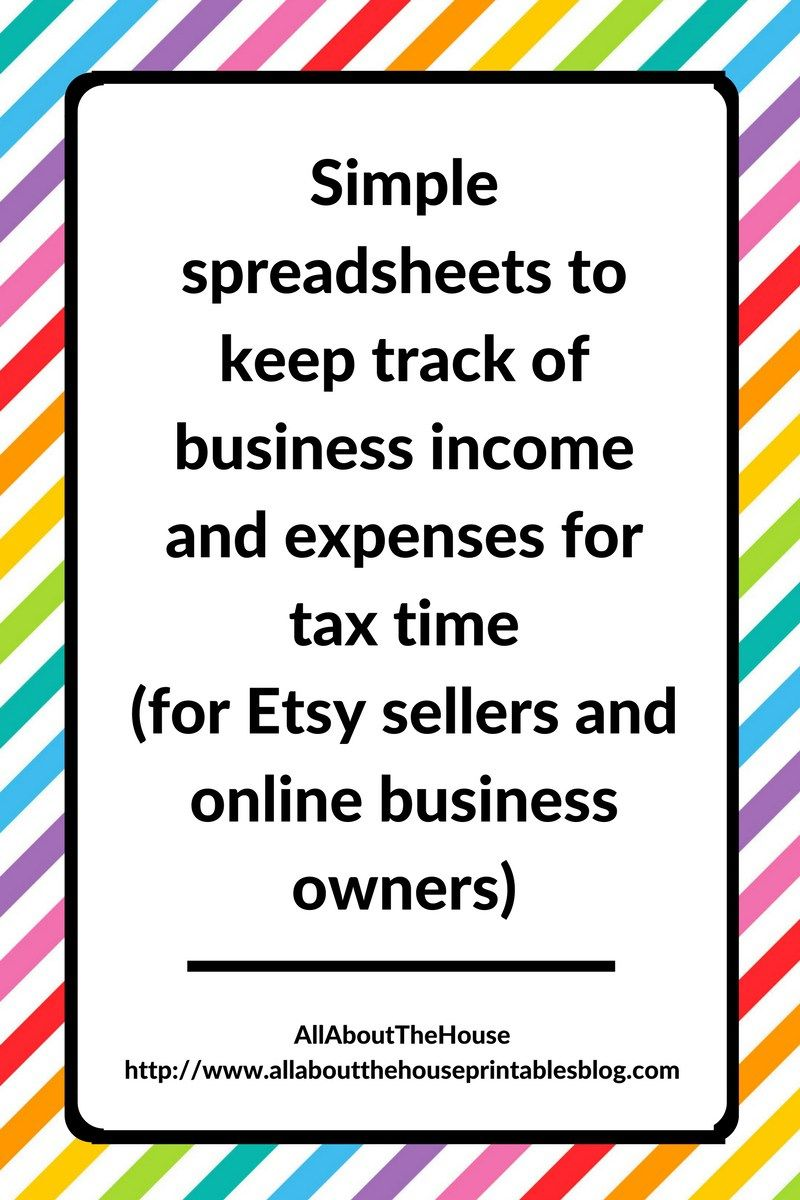 Simple Spreadsheets To Keep Track Of Business Income And Expenses For Tax Time All About Planners Tax Time Budget Spreadsheet Business Tax