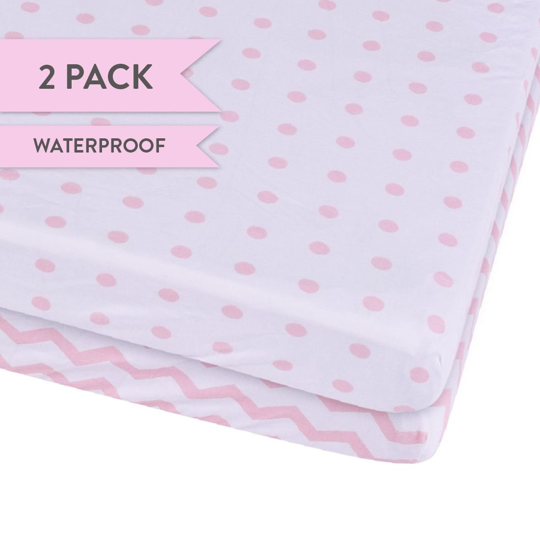 waterproof toddler bed fitted sheet pink