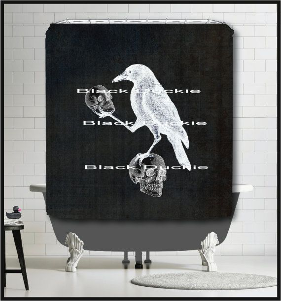 Crow Holding Skulls On Chalkboard Shower Curtain