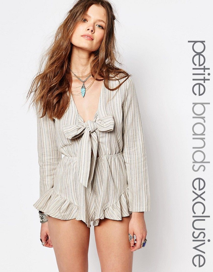 147ee2e9d2 Glamorous+Petite+Striped+Tie+Front+Playsuit