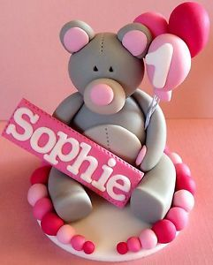 Edible 3D Teddy Bear Name Balloons Cake Topper Birthday Decorations