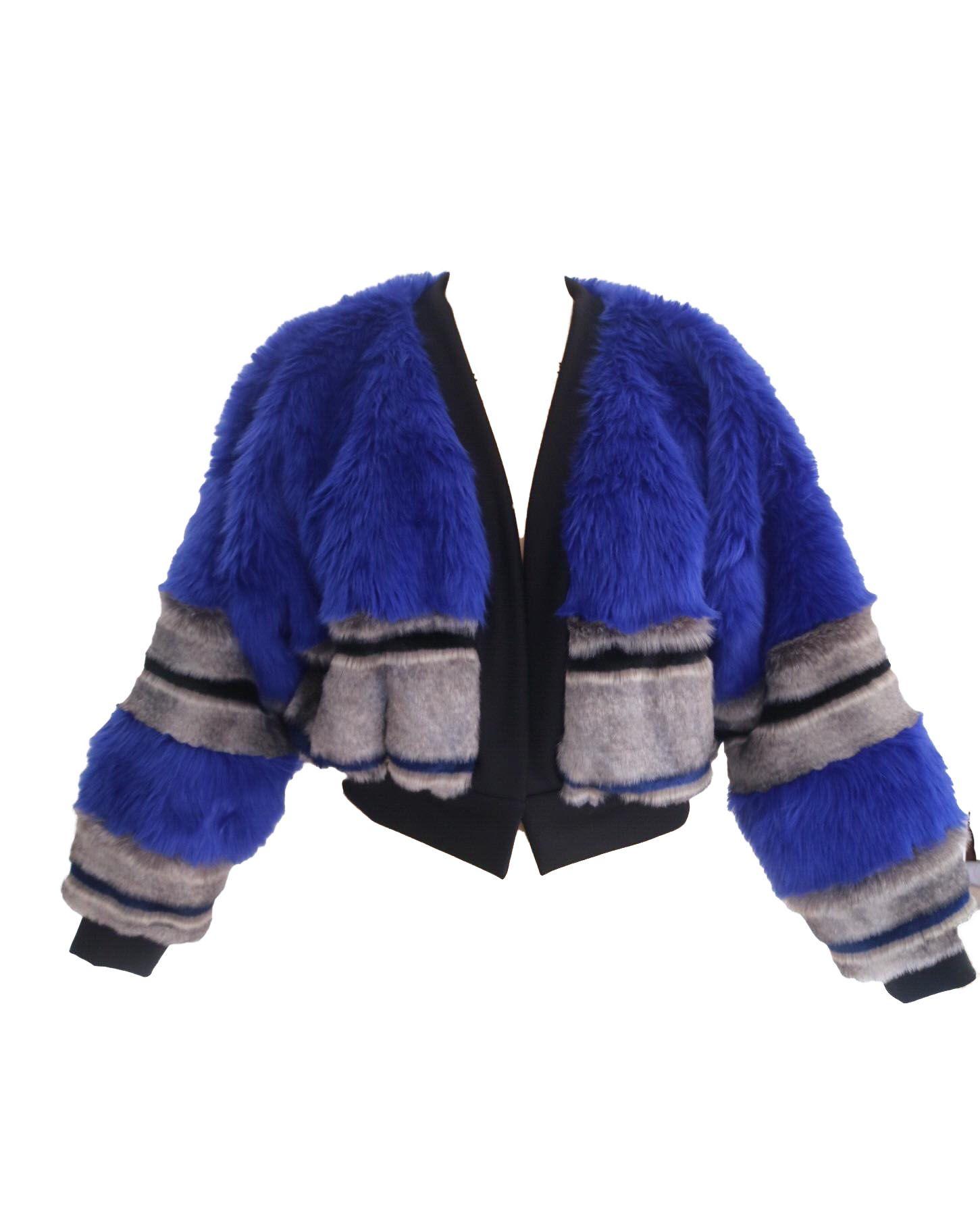 Blu Short Bomber Jacket Grey Faux Fur Jacket Jackets