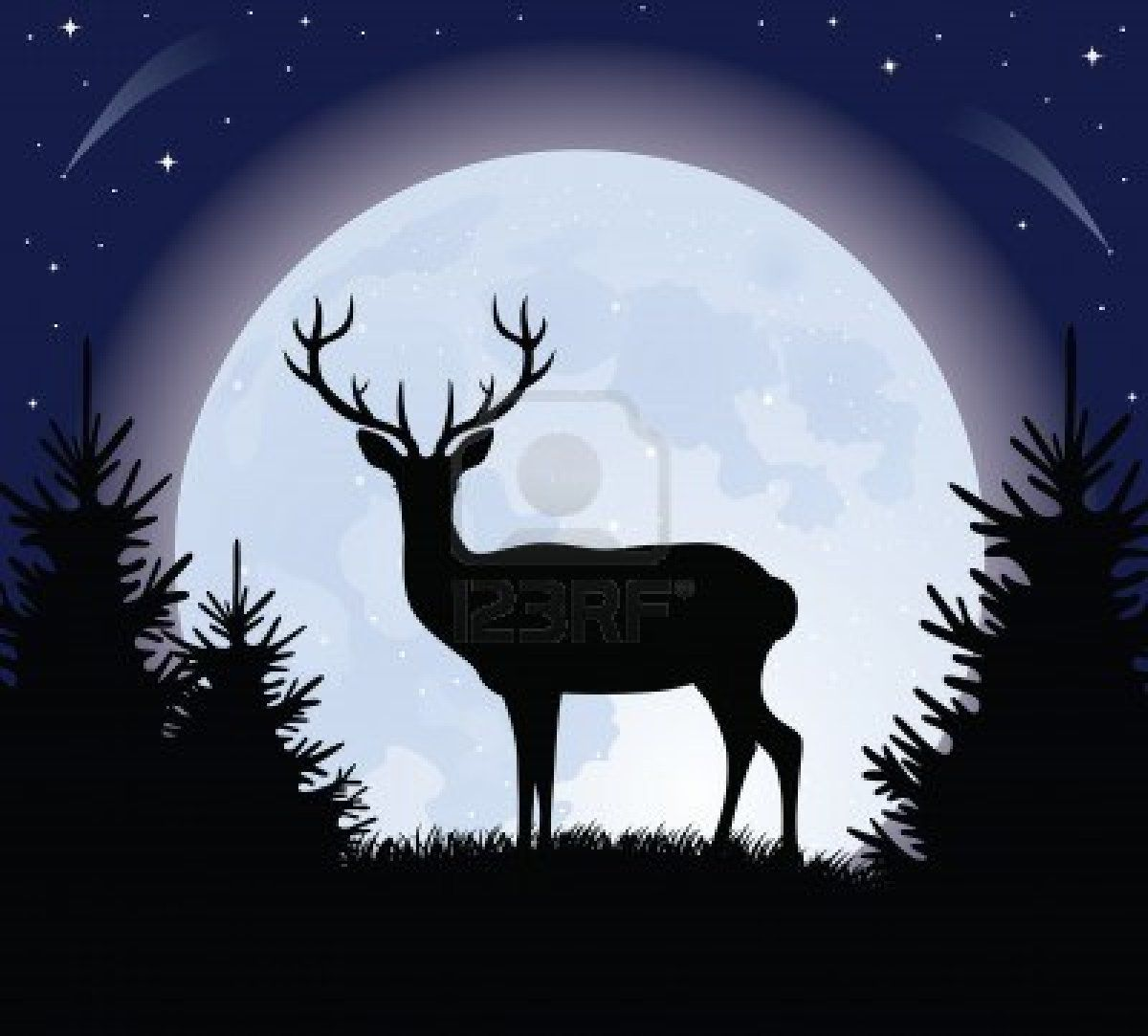 Silhouette of a deer standing on a hill. Full moon on the background ...