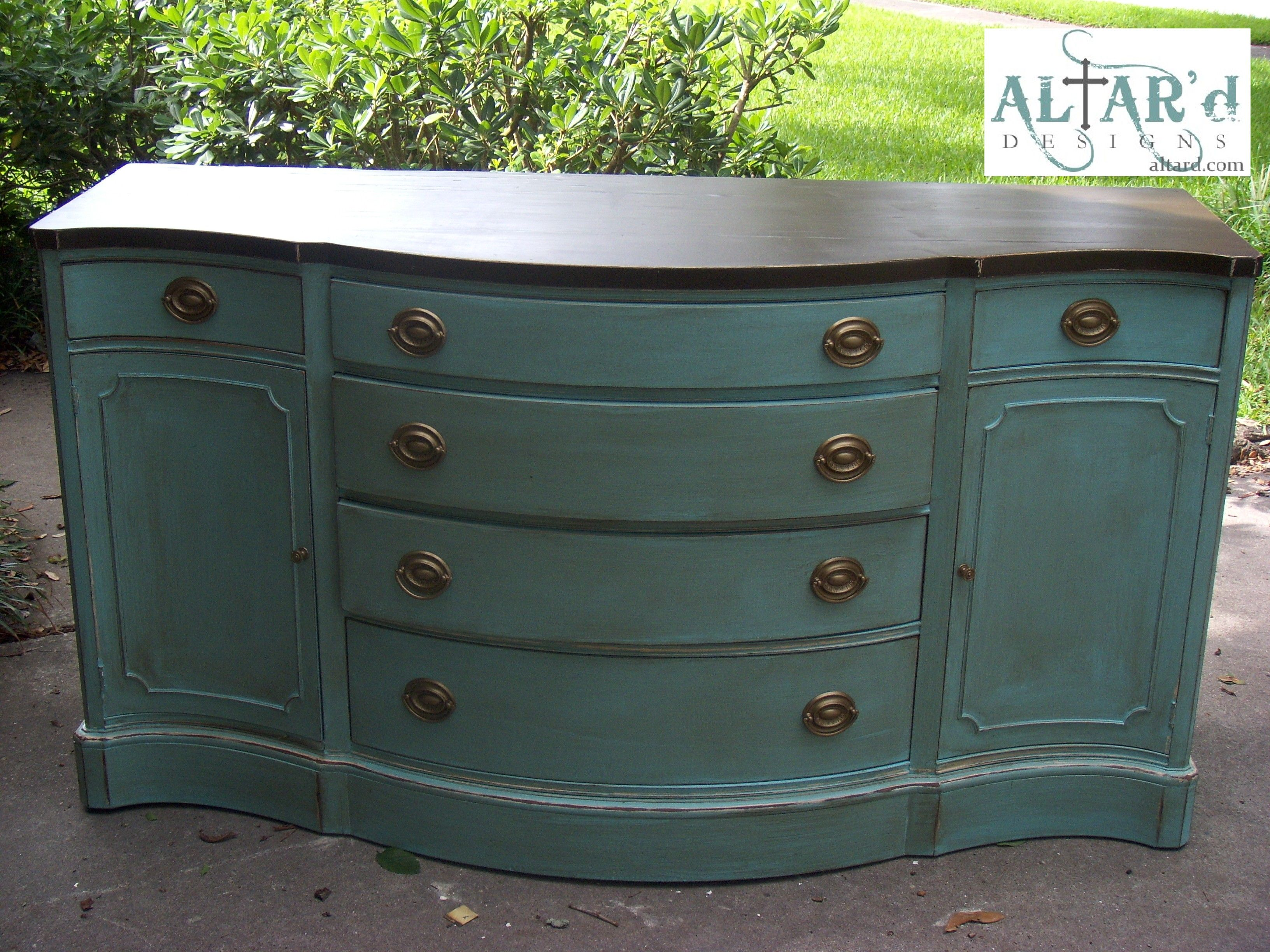 A Duncan Phyfe Style Buffet In Pale Aqua Distressed Glazed With An Espresso Top Dining Room