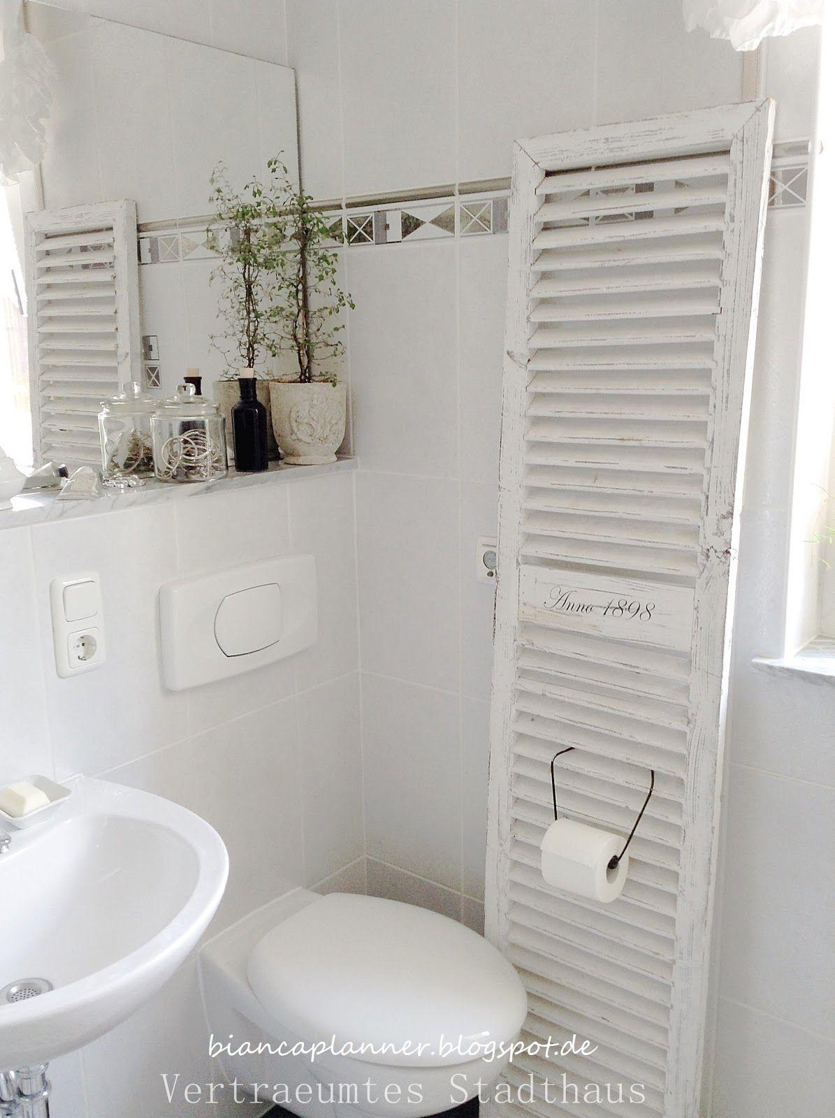 shutter fensterladen bad shabby chic wc wanne waschbecken dusche vintage antik brocante. Black Bedroom Furniture Sets. Home Design Ideas