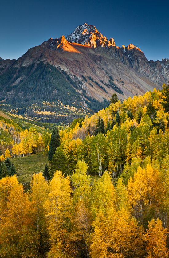 Colorado Fall; photo by Jeff Jessing. Southwest Colorado in the mountains near Durango, Silverton, Ouray and Telluride offer some of the best fall colors in dramatic landscapes in North America. ,